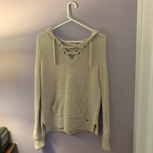 Hollister Cream Lace Up Knit Hoodie Sweater